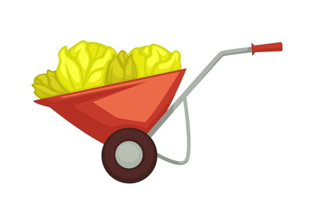 Cart of farmer with harvest products organic vegetables placed on wheelbarrow for transportation and preserving. Metal carriage for aubergine, tomatoes and peppers isolated on vector illustration Vetores