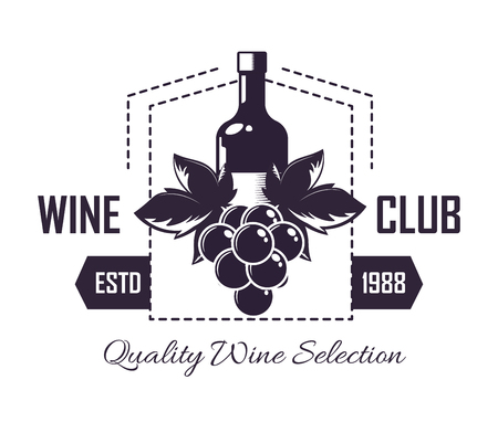 Premium wine club isolated monochrome emblem flat vector illustration on white background. Community of exquisite alcohol drink admires.