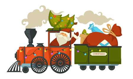 Christmas holiday preparation Santa Claus with evergreen tree riding old locomotive vector winter character driving steam train holding decorated fir spruce