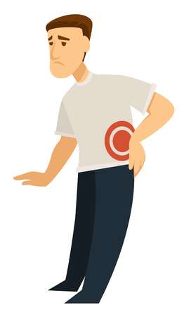Man touching his back male in pain suffering from illness vector person having problems with health issues connected with spine and whole body location of ache pointed with circle guy feeling bad.