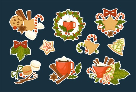Merry Christmas symbols of happy winter holiday set vector cinnamon sticks and gingerbread cookies made of gingerbread wreath from mistletoe and pine cup with hot chocolate and melting marshmallow. 向量圖像