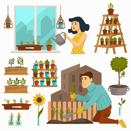 Gardening hobby of people calm pastime with nature