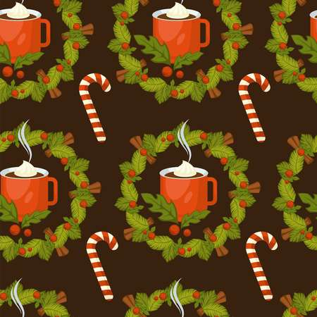 Merry Christmas symbolic food and plant seamless pattern vector mistletoe leaves and gingerbread cookies with chocolate crumbles candy lollipop stick with striped print cinnamon aroma species.