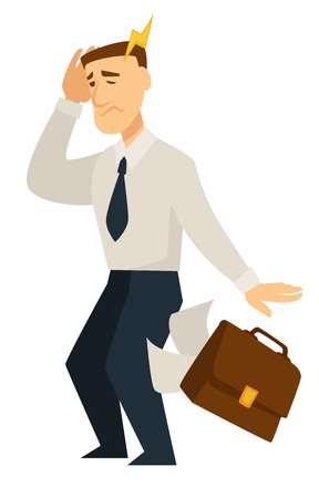 Man feeling bad person holding head headache agony bolt vector sick human businessman walking with briefcase with documents and papers falling down from case disease and illness of business male.