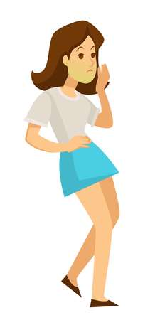 Person feeling sickness unhealthy woman with green face vector nausea symptom of poisoning or allergy intoxication of female organism stomach, belly weak person holding waist, lady girl in pain