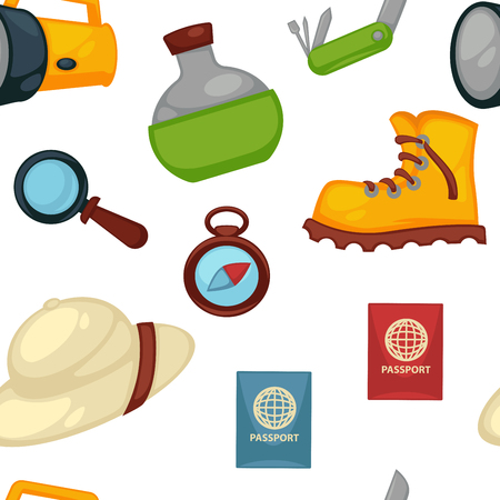 Travel appliances and signs flask and boot passport traveling document vector seamless pattern bottle with water magnifying glass tool for zooming image hat clothes and compass with world sides.