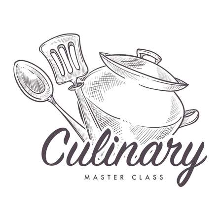 Culinary master class learning how to cook monochrome sketch outline
