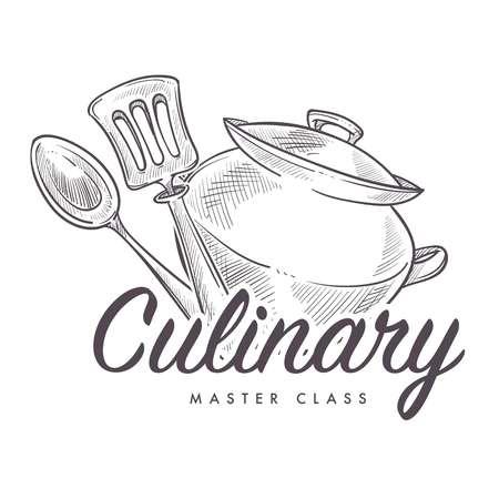 Master class culinaria che impara a cucinare un contorno di schizzi monocromatici