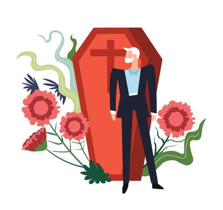 Funeral ceremony person grieving by coffin of deceased person vector flowers in bloom and floral decoration bearded male wearing black costume suit cross at wooden casket burial service death. Illustration
