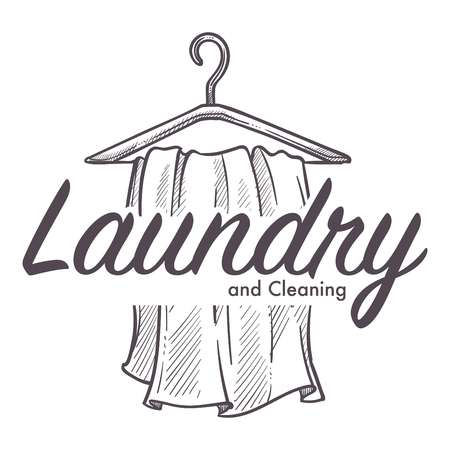 Laundry and cleaning service logotype monochrome sketch outline