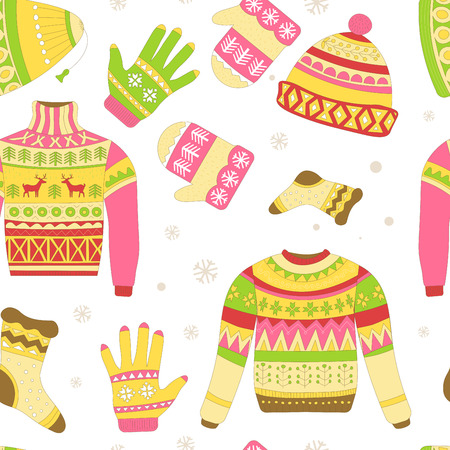Knitted sweaters and warm winter hat seamless pattern isolated on white background vector. Snowflakes and reindeer symbolic animal of Christmas holidays prints. Ornaments and animalistic elements