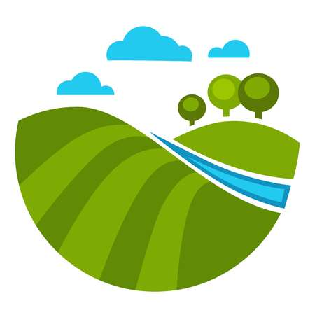 Trees and river water and green grass lawn vector isolated icon of scenery spring summer view with clouds at sky and nature lake with wood springtime countryside park at warm season seasonal orchard.