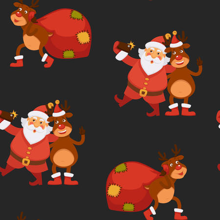Christmas holidays celebration, Santa Claus spending time with reindeer vector. Seamless pattern of old man singing with animal, deer playing trumpet and making balls of snow. Happy new year