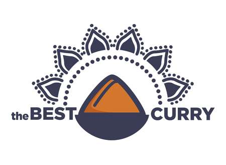 Best curry Indian traditional food on bowl and mandala sign vector national species meal from India hot spicy dish and art ornamental elements dinner and lunch sauce with special exotic flavour.