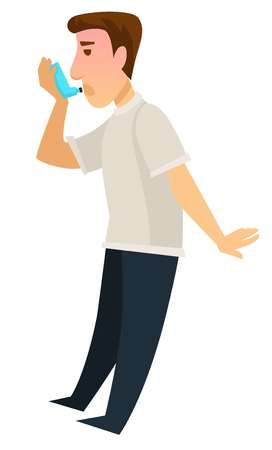 Man using inhaler device for recovery from asthma person coping with illness sickness of human body with symptoms affecting breath and lungs functioning aid from problems of body male in pain.