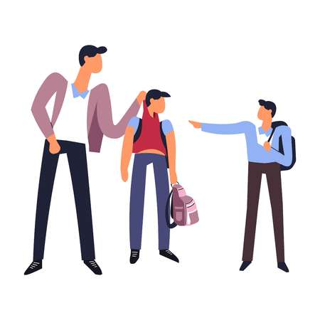 Bullying at school young students teasing weak person vector teenagers being mean to classmate holding his back satchel in hands violence of bad boys poking human harassment of violent bully gang.