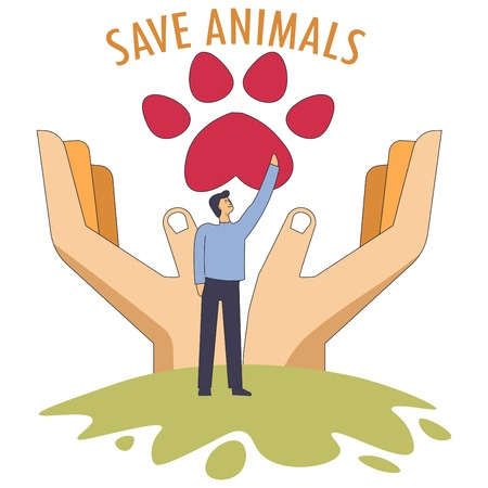 Save animals symbol of rescuing pets symbolic image vector man volunteer touching dogs paw sign hands of human protecting fauna homeless mammals help from people male helping charity care center.
