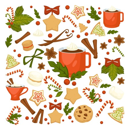 Merry Christmas winter holiday concept symbolic images. Wreath and gingerbread cookies in form of pine and star. Cinnamon and chocolate, cup with hot beverage, coffee and candies mistletoe Illustration