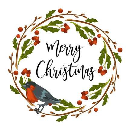 Merry Christmas wreath made of mistletoe traditional plant vector bird sitting on leaves and berries of vegetation symbolising winter holidays bullfinch birdie with colorful feathers small bird.