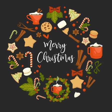 Merry Christmas winter holiday concept symbolic images. Wreath and gingerbread cookies in form of pine and star. Cinnamon and chocolate, cup with hot beverage, coffee and candies mistletoe Ilustração
