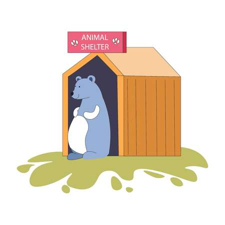 Animal shelter bear in wooden hut home for mammal vector adoption of new friend zoo with wildlife homeless pet with smooth fur coat standing on grass lawn rescued by special volunteer service. Ilustrace