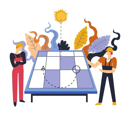 Team of electricians dealing with solar batteries installation of alternative sources of energy accumulation vector specialized experts wearing uniform and helmet thinking of issues electric company. Ilustrace