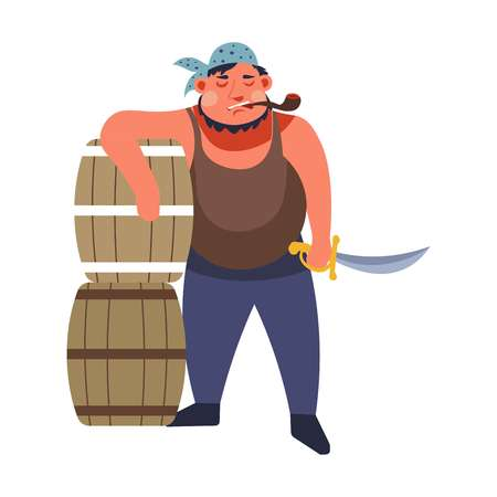 Pirate in bandana with smoking pipe dagger and barrels of rum isolated icon man with weapon and tobacco product alcohol drink in wooden containers sea criminal or angry sailor character vector. Иллюстрация