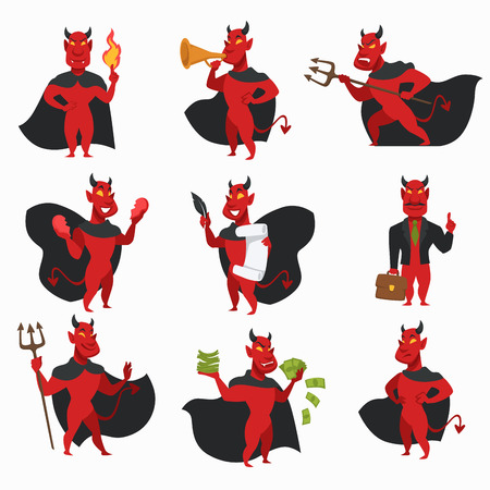 Devil in cloak with horns and tail red skin demon isolated icons fire or flame and trumpet trident and broken heart contract with feather and office suit with briefcase money creature from hell vector.