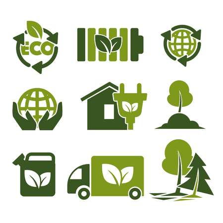 Eco green isolated icons reusing reducing and recycling saving ecology energy economy planet protection human hands house and electricity preserving trees and plants fuel and transport vector.