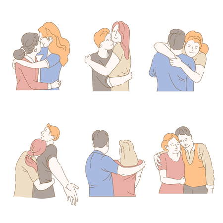 Embrace isolated icons men and women hug tight and exchange love family and friends affection and affinity girl and guy mother and daughter husband and wife relatives and close people vector. Imagens - 126946879