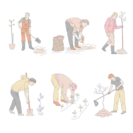 Men planting trees and vegetables in ground at garden isolated icons characters in overalls and gloves sprouts and seedling shovel or spade with hoe potato in sack gardening or farming vector.