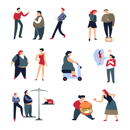 Overweight problem and fat shaming men and women humiliation isolated icons cracking offensive jokes scales and dreaming about fit shape fast wood and moped slim model hamburger and chicken vector. Illustration