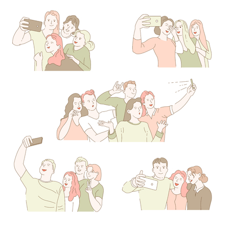 Group selfie isolated icons men and women taking photo family and friends cheerful company and smartphone camera device or gadget flashlight posing for photography or picture social media vector.