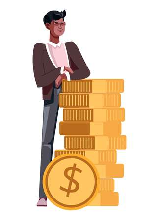 Guy with stack of gold coins isolated icon young businessman in jumper and shirt african american character money earnings and profit wealth rich man cents salary career and finance banking vector.
