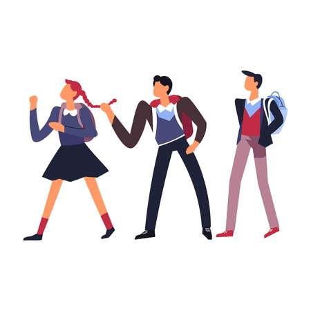 Boys teasing girl humiliation and bullying isolated icon classmates pulling female character braid mean schoolchildren with rucksacks primary school child teasing and joking or hurting vector. Illustration