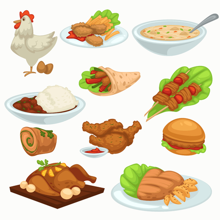 Period of harvesting dishes made of poultry meat vector. Food cooked for festive celebration turkey prepared on plate animal with feathers. Soup and hamburger with leaves and vegetables stuffing  イラスト・ベクター素材