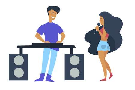Music performance given by woman singer and man dj vector. Male and female enjoying themselves on party partying people vocalist holding microphone mike in hands wearing casual summer clothes