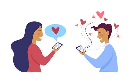 Woman messaging with man boyfriend and girlfriend in love vector. People chatting with each other hearts and loving atmosphere. Boy and girl with romantic deep feelings person looking on phone