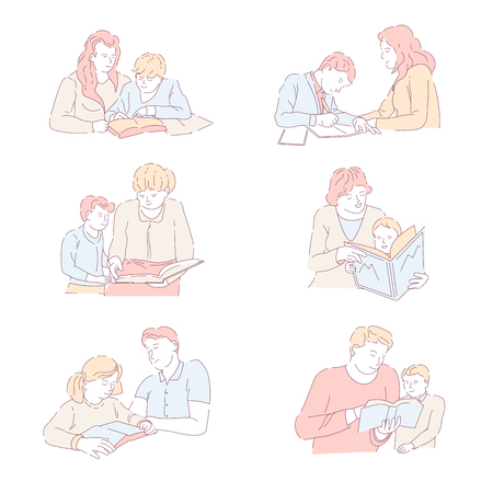 Parents embracing kid childhood of children happy family vector cheerful people spending time together father with son reading education and school preparation help with homework assistance set.