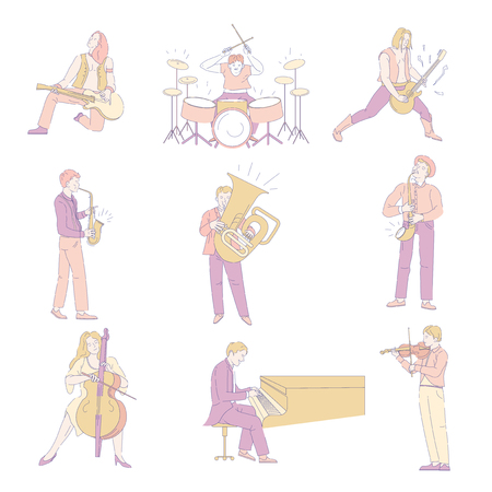 Music concert performance by people playing on instruments vector. Man and woman talented character holding guitar and trumpet violin and pipe. Pianist and drummer guitarist and violinist set