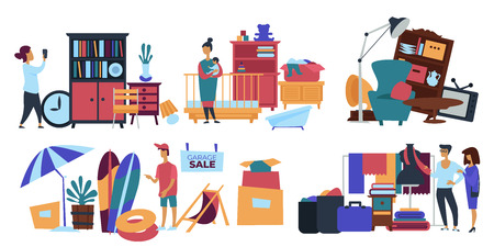 Garage sale person seller selling old stuff at home vector male with people looking at furniture and kids items to buy retro clock and cupboard books and beach objects umbrella and surfing board. Иллюстрация
