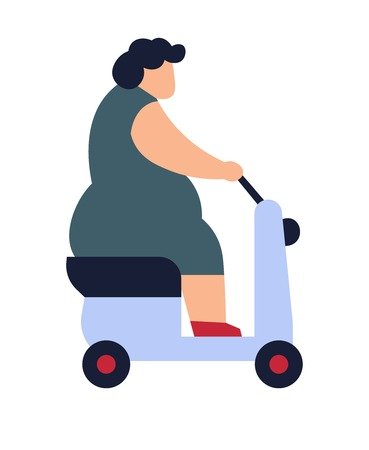 Overweight woman driving on scooter fat lady riding transport vector isolated person on vehicle with wheels unhealthy human suffering from obesity overeating and problems with female health.