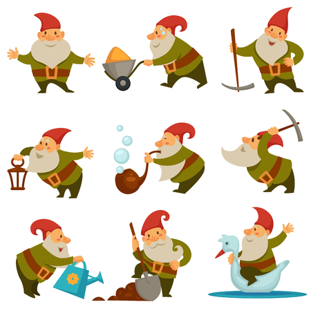 Gnome with mining instrument for getting gold isolated set vector. Character with long beard wearing hat and belt riding swan and holding shovel in hands. Personage water soil from watering can