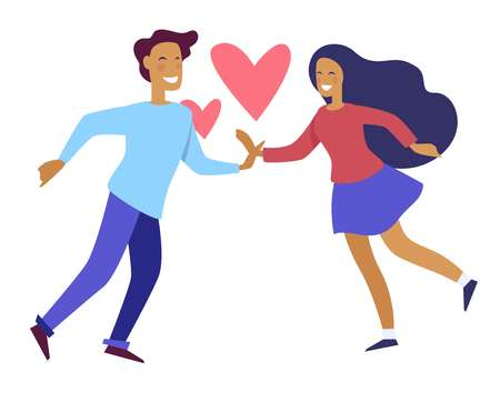 Couple holding hands of each other people in love vector. Pair of man and woman with symbol of deep feelings male and female touching one another. Passion between boyfriend and girlfriend on date