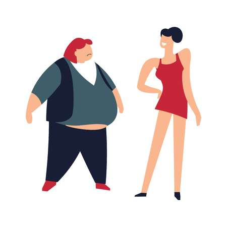 Slim and fat women thin lady humiliating person vector women of different body shapes characters of big and small sizes obese female humiliation of human with bad waistline figure problems with health.