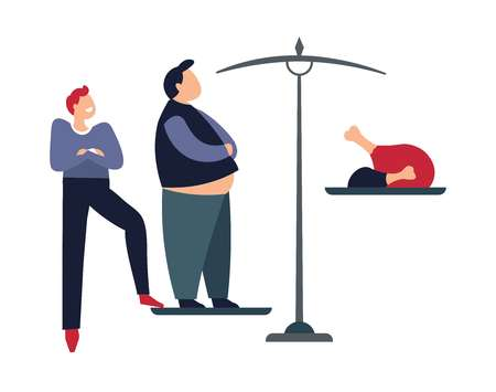 Person humiliating obese male standing on weights with food vector problems with health of human character overeating chicken meat and products with high calories unhealthy man bad lifestyle. Illustration