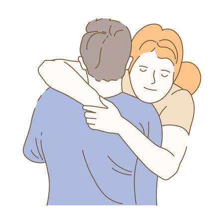 Couple cuddling isolated woman and man hand drawn vector beloved male and female girlfriend and boyfriend on date loving each other family of wife and husband amorousness and fondness and. Illustration