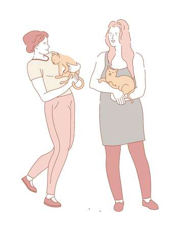 Woman female friends holding pet cats on hands vector fluffy domesticated animal comfortably sitting on ladies chest human with adorable creature person loving purring characters kitten kitty.