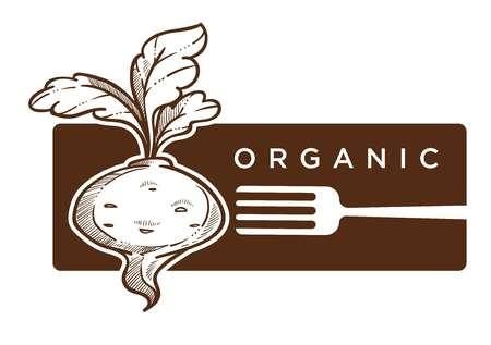 Organic food reddish with leaves and fork logo