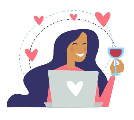 Woman drinking wine poured in glass and chatting online vector. Lady in good mood holding alcoholic beverage and looking at screen monitor of laptop. Messaging with her boyfriend female in love